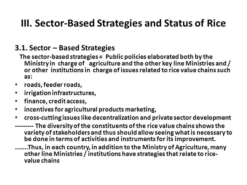 III. Sector-Based Strategies and Status of Rice