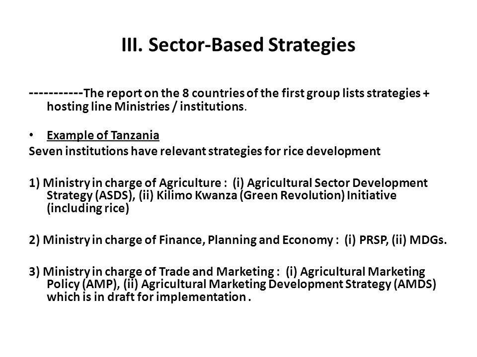 III. Sector-Based Strategies