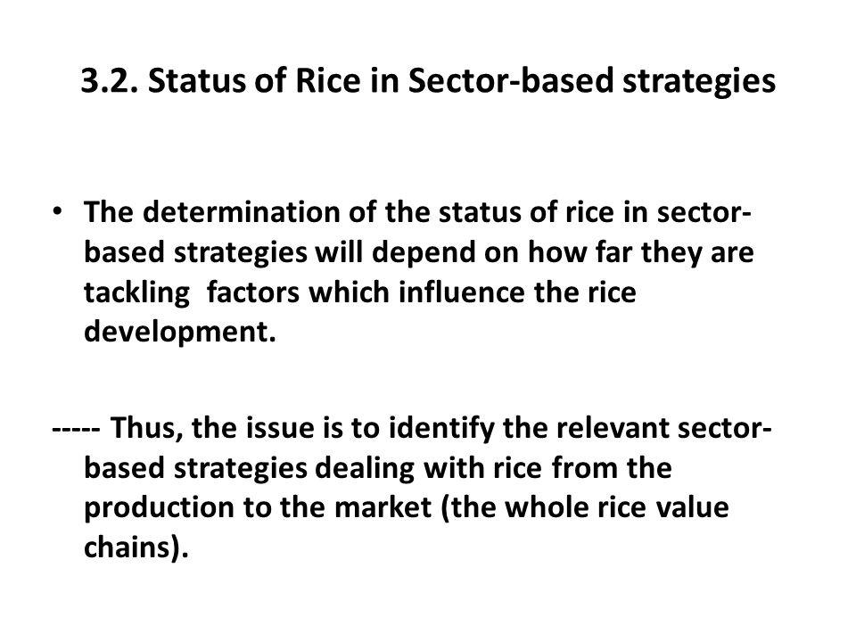 3.2. Status of Rice in Sector-based strategies
