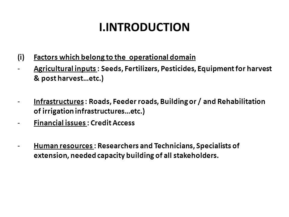 I.INTRODUCTION Factors which belong to the operational domain