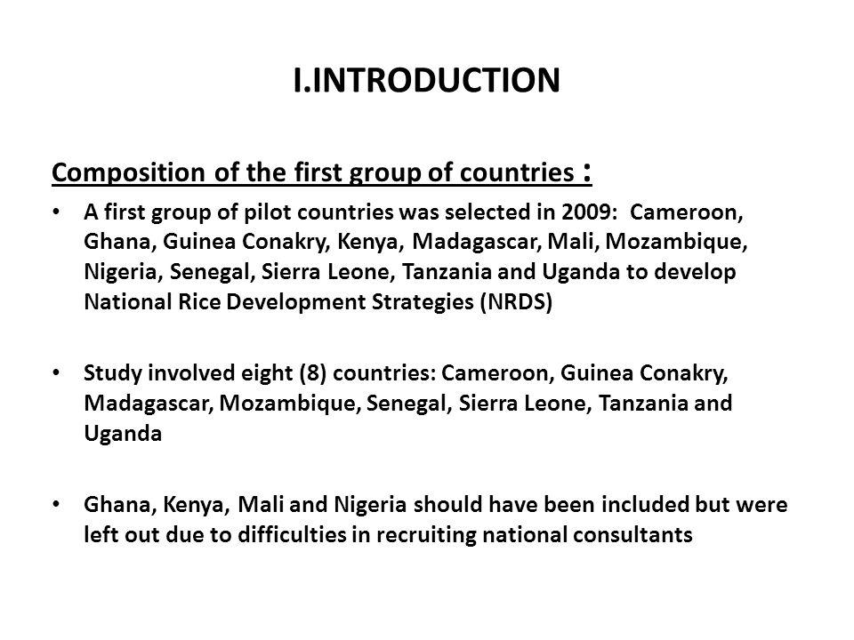 I.INTRODUCTION Composition of the first group of countries :