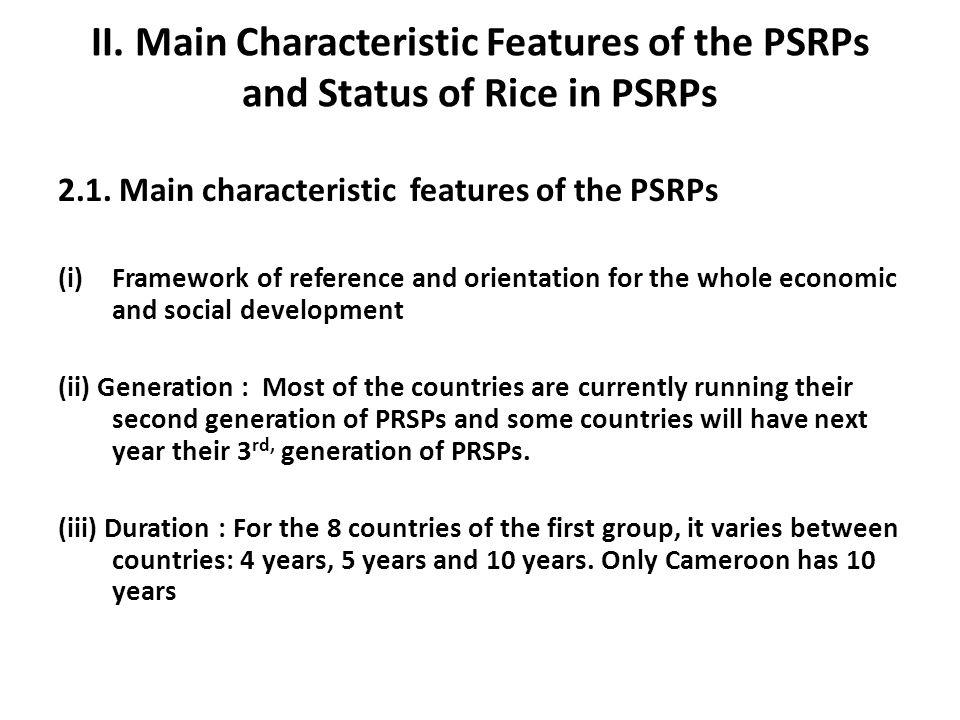 II. Main Characteristic Features of the PSRPs and Status of Rice in PSRPs