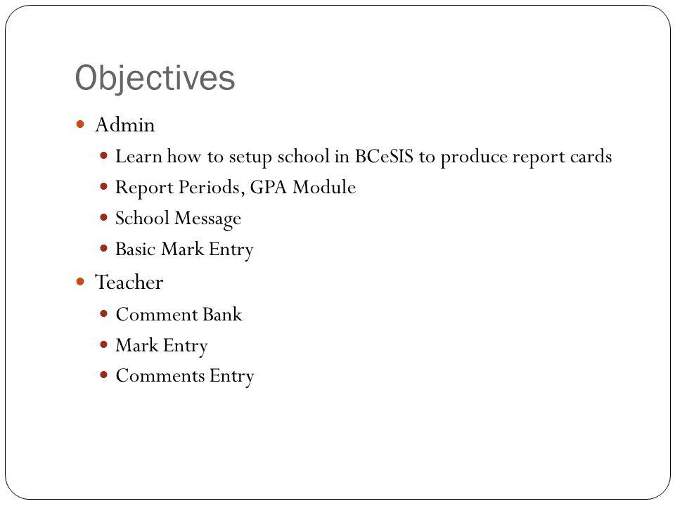 Objectives Admin Teacher