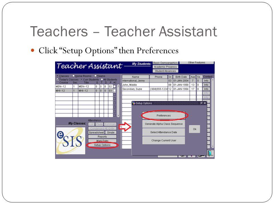 Teachers – Teacher Assistant