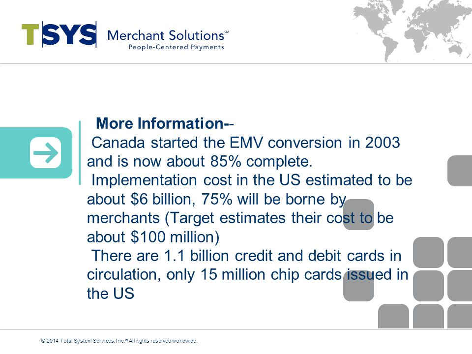 More Information-- Canada started the EMV conversion in 2003 and is now about 85% complete.