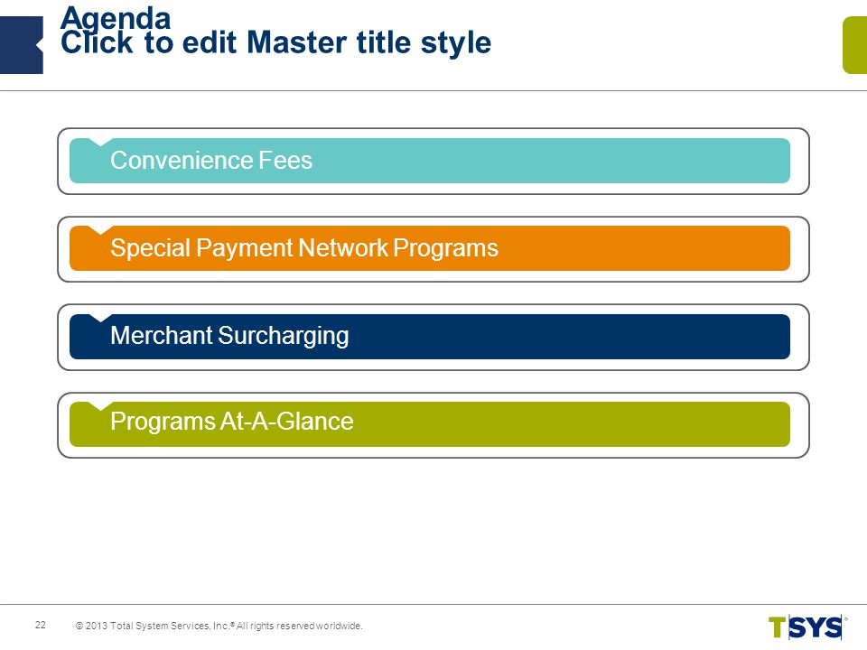 Agenda Convenience Fees Special Payment Network Programs