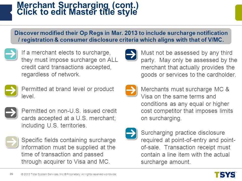 Merchant Surcharging (cont.)