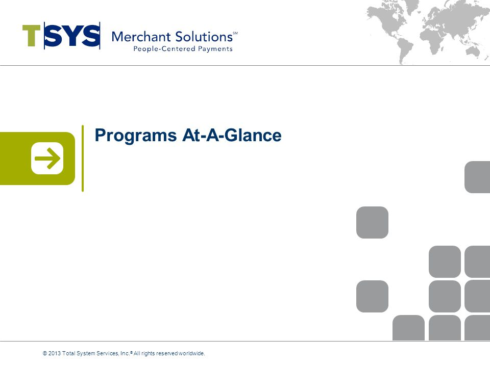 Programs At-A-Glance © 2013 Total System Services, Inc.® All rights reserved worldwide.