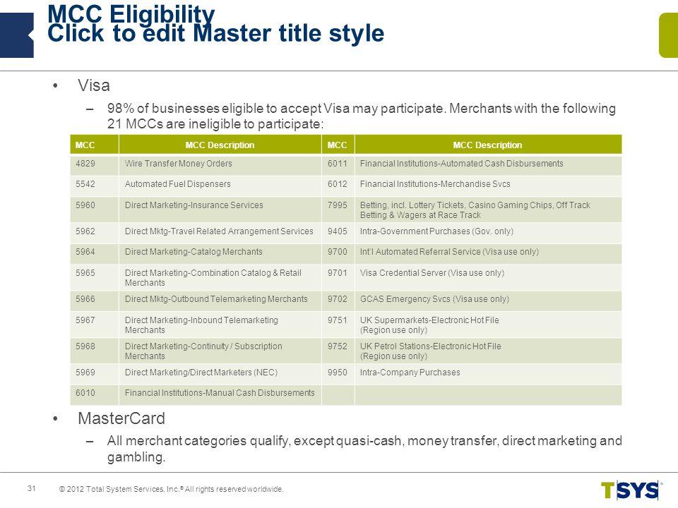 MCC Eligibility Visa MasterCard