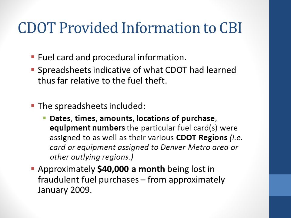 CDOT Provided Information to CBI