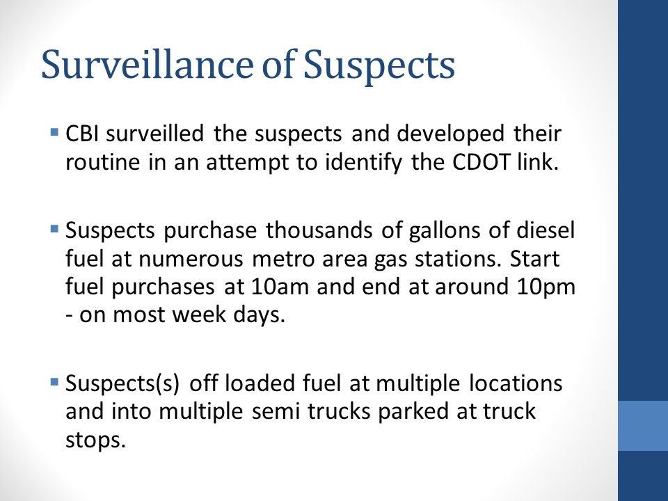 Surveillance of Suspects