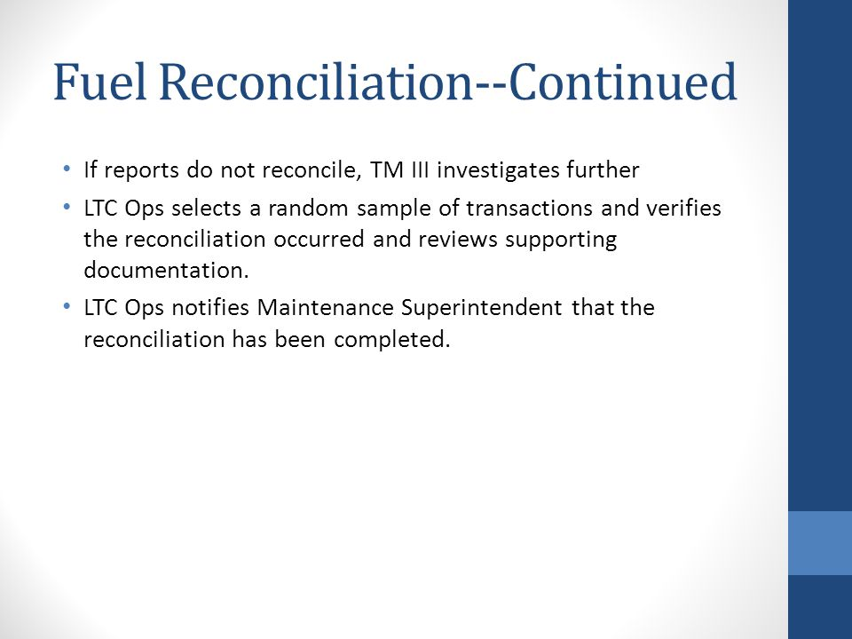 Fuel Reconciliation--Continued