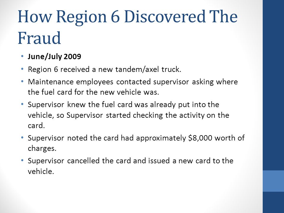 How Region 6 Discovered The Fraud