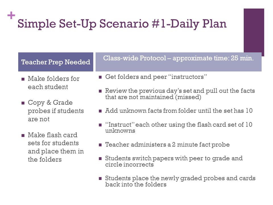 Simple Set-Up Scenario #1-Daily Plan