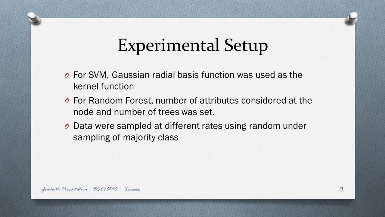 Experimental Setup For SVM, Gaussian radial basis function was used as the kernel function.