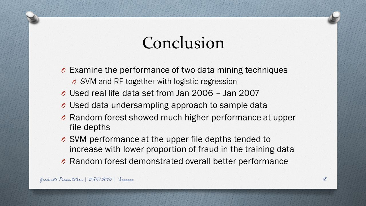 Conclusion Examine the performance of two data mining techniques