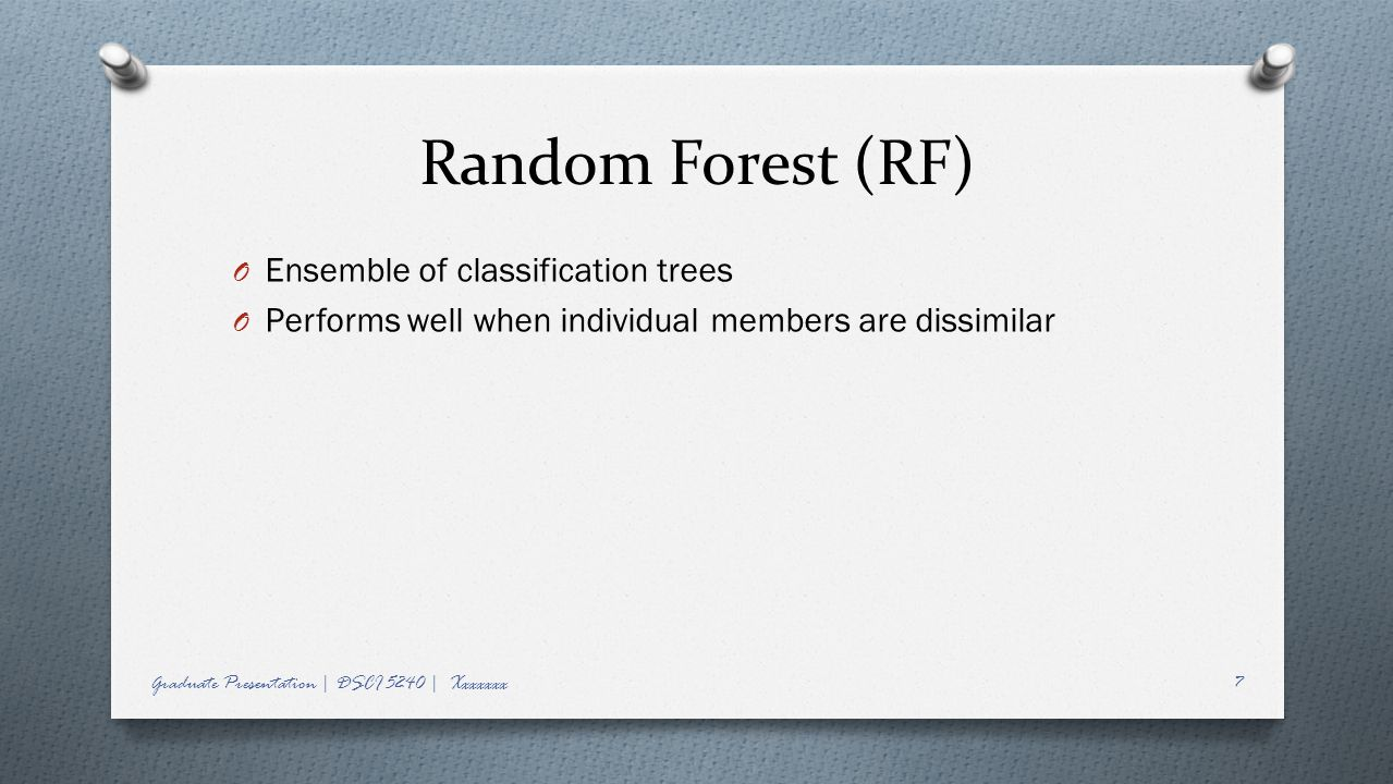 Random Forest (RF) Ensemble of classification trees