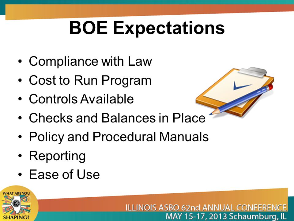 BOE Expectations Compliance with Law Cost to Run Program