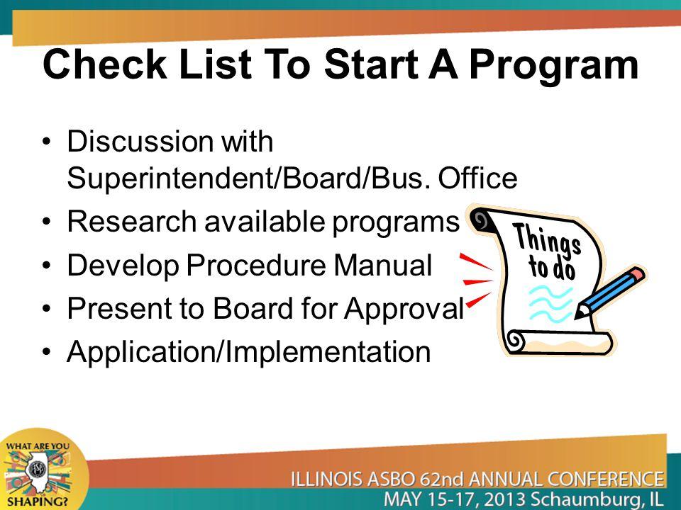 Check List To Start A Program