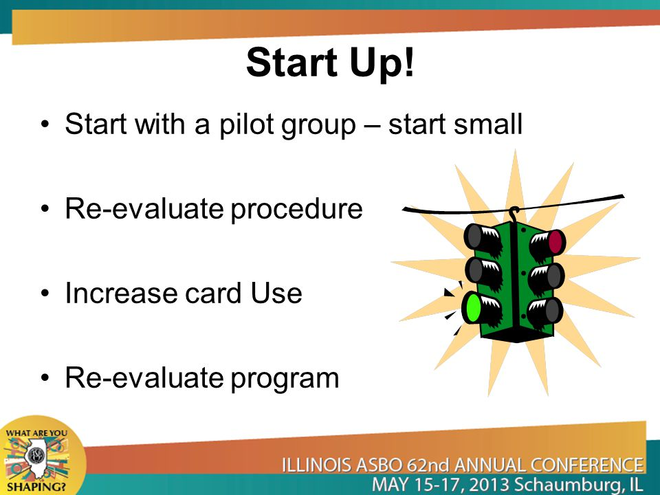 Start Up! Start with a pilot group – start small Re-evaluate procedure
