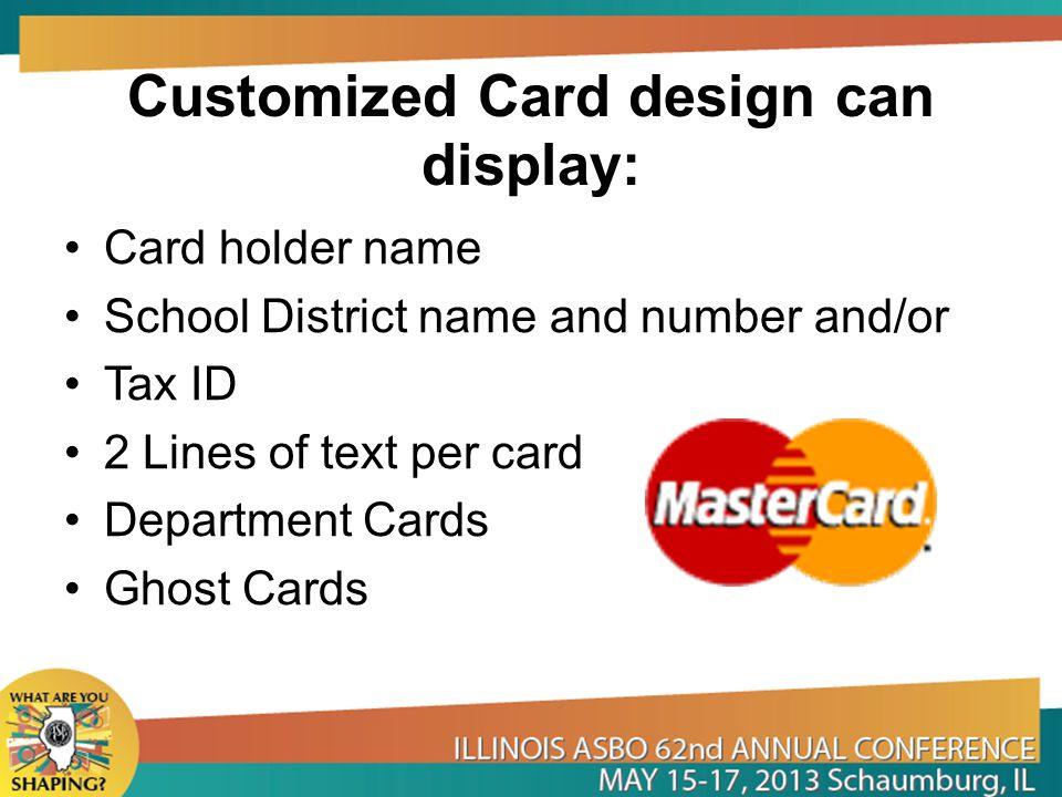 Customized Card design can display: