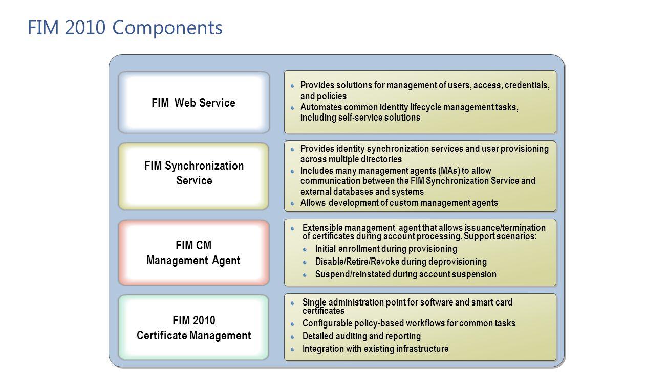 Agenda 2 factor authentication smart cards virtual smart cards fim fim synchronization service fim 2010 certificate management xflitez Choice Image