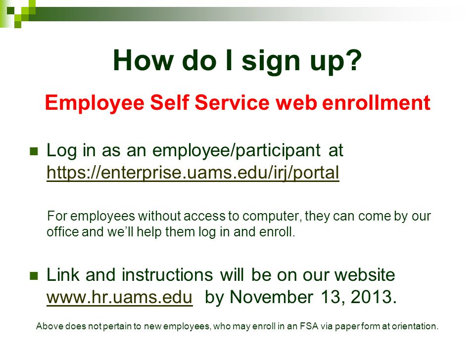 Employee Self Service web enrollment
