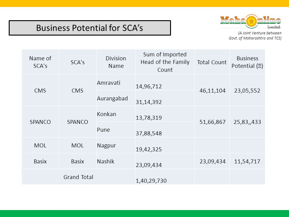 Business Potential for SCA's