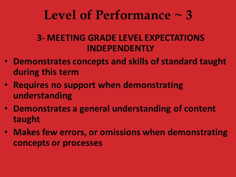3- MEETING GRADE LEVEL EXPECTATIONS INDEPENDENTLY
