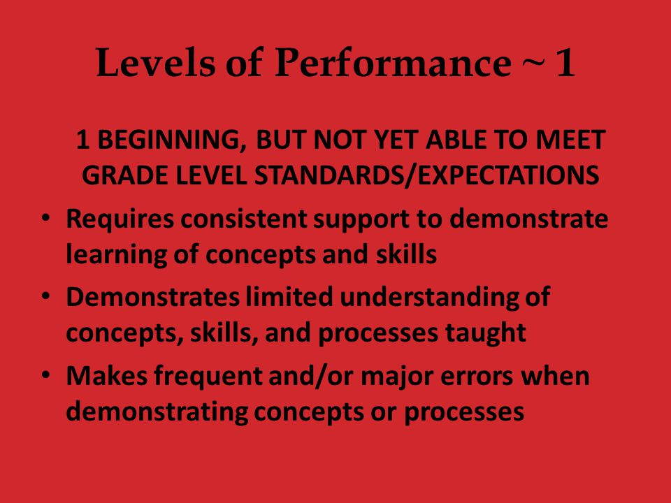 Levels of Performance ~ 1