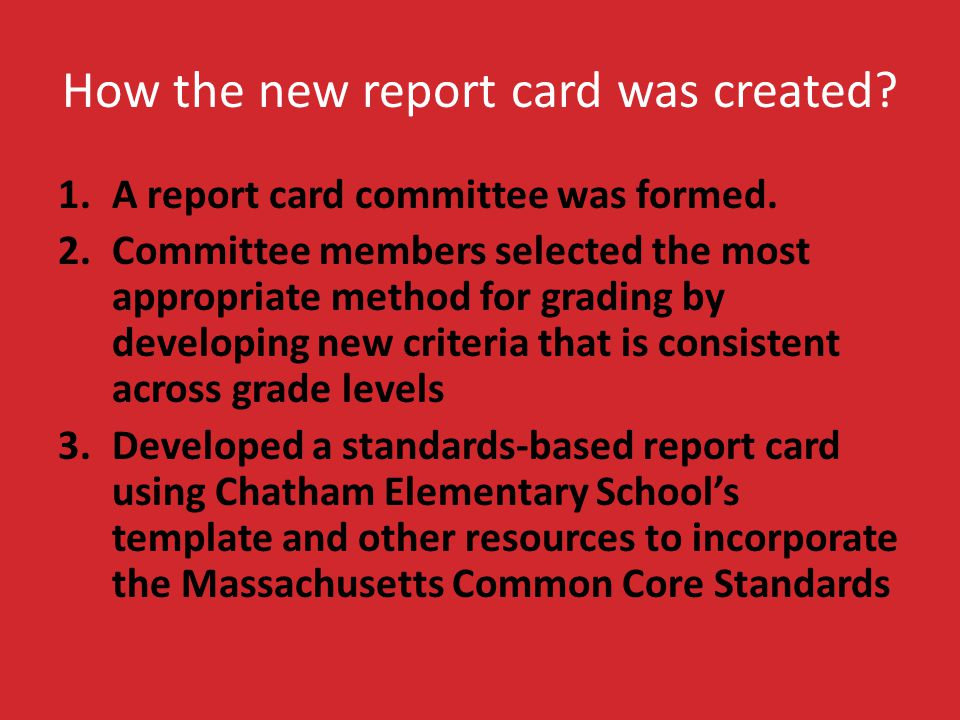 How the new report card was created