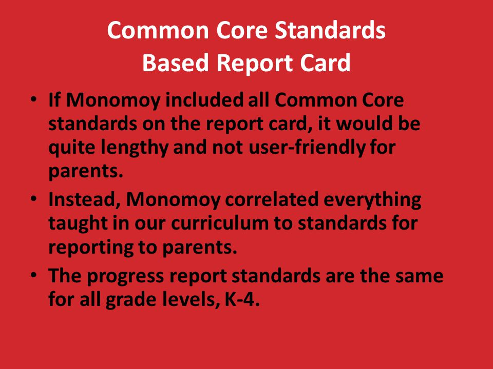 Common Core Standards Based Report Card