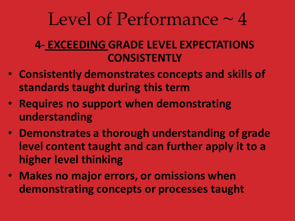 4- EXCEEDING GRADE LEVEL EXPECTATIONS CONSISTENTLY