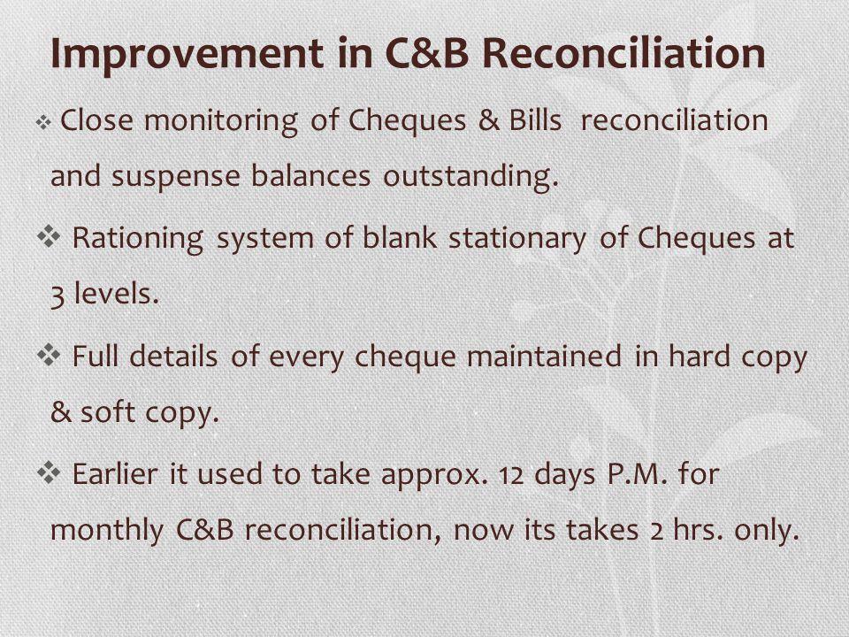 Improvement in C&B Reconciliation