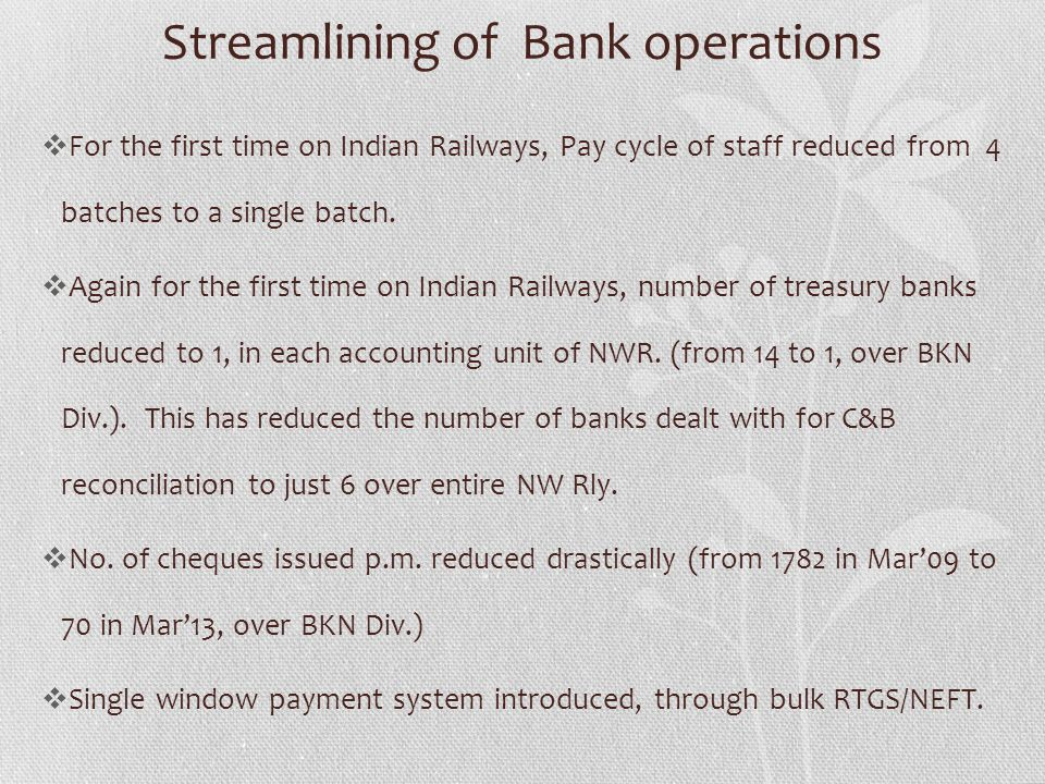 Streamlining of Bank operations