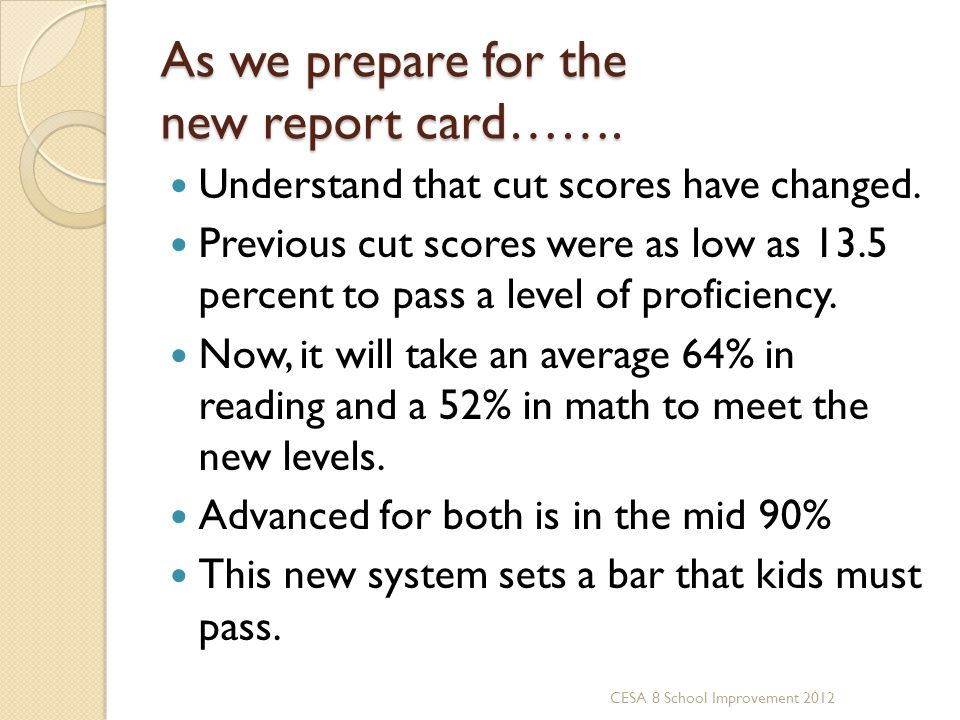 As we prepare for the new report card…….