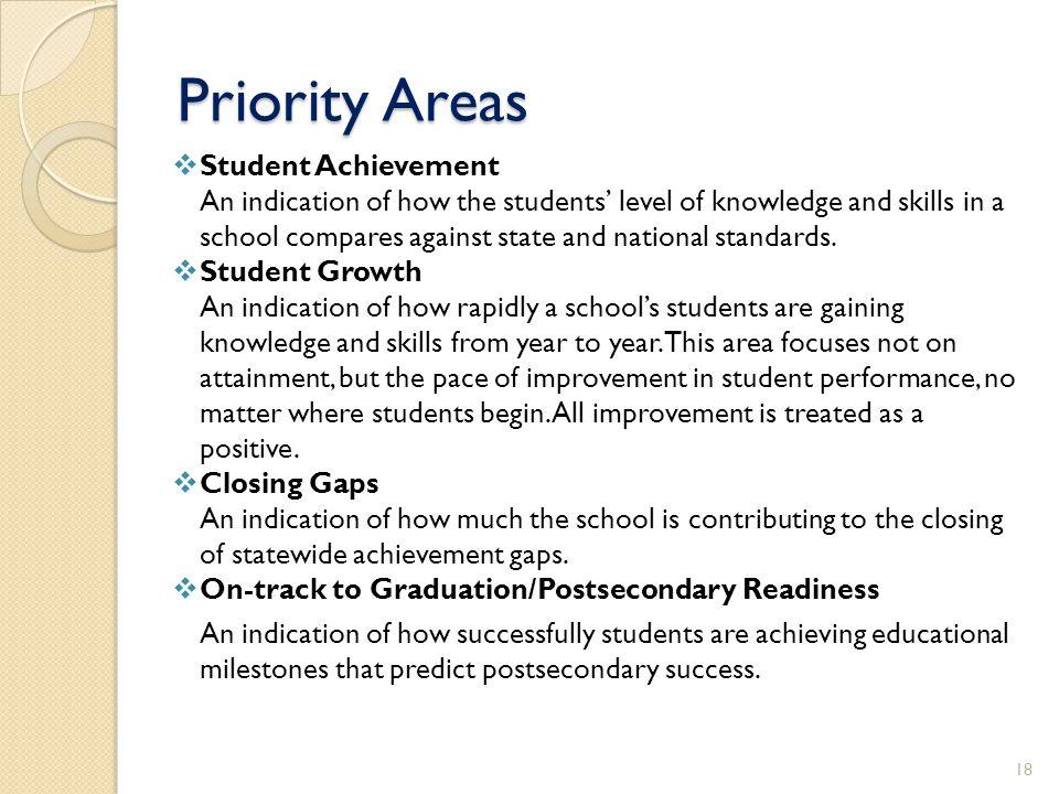 Priority Areas Student Achievement