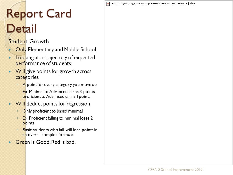 Report Card Detail Student Growth Only Elementary and Middle School