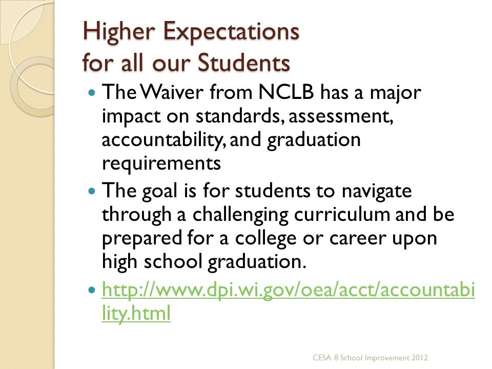 Higher Expectations for all our Students