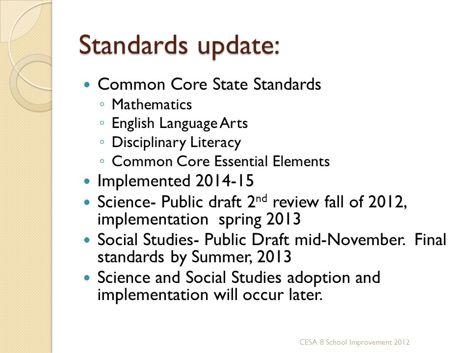 Standards update: Common Core State Standards Implemented 2014-15