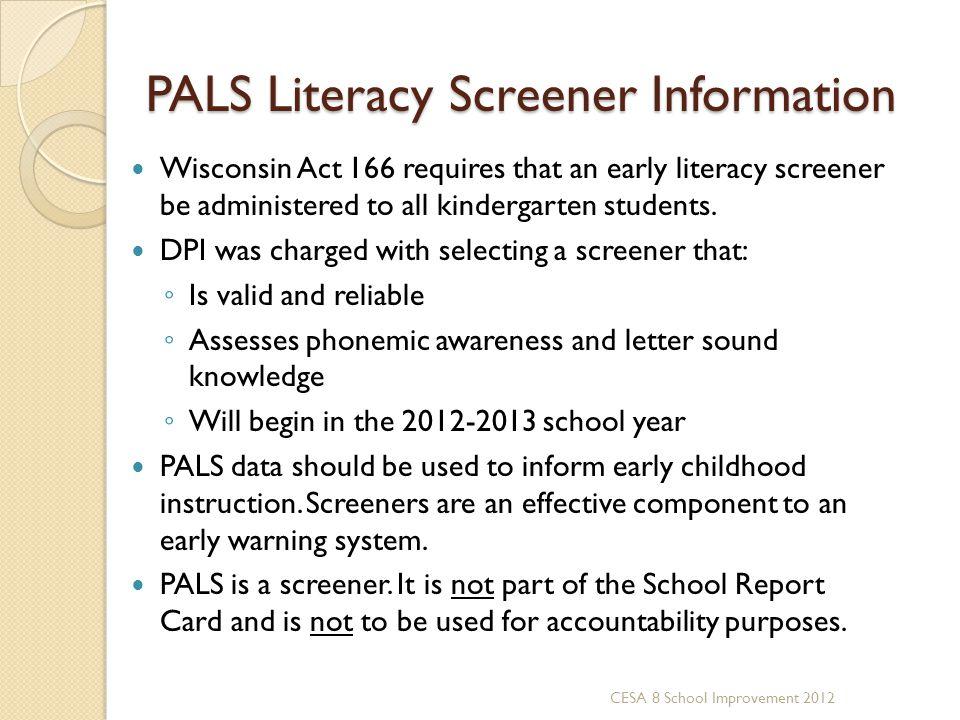 PALS Literacy Screener Information