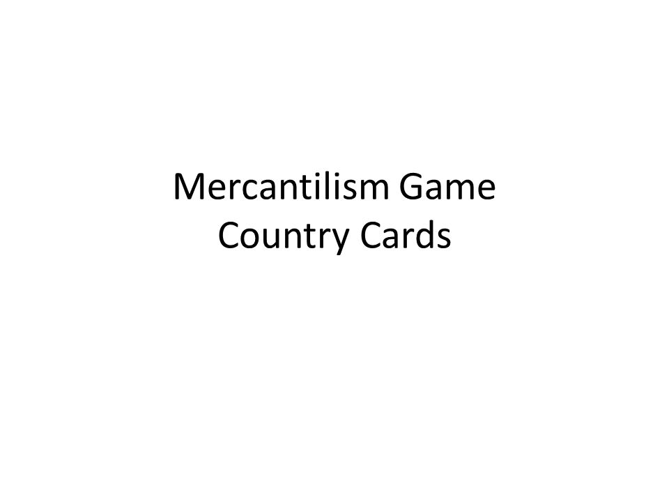 Mercantilism Game Country Cards