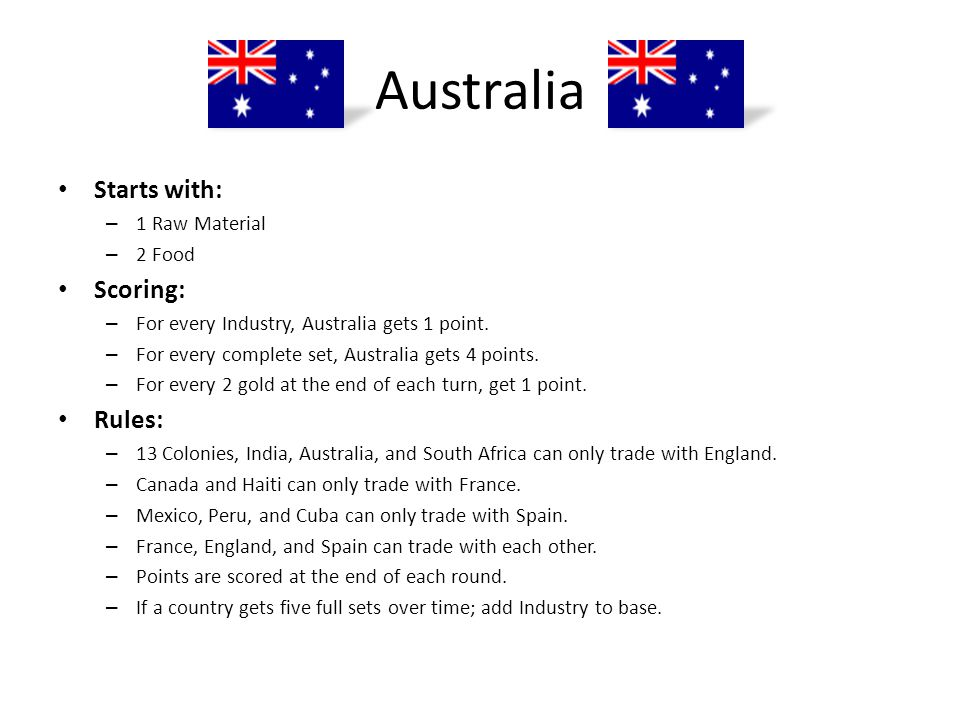 Australia Starts with: Scoring: Rules: 1 Raw Material 2 Food