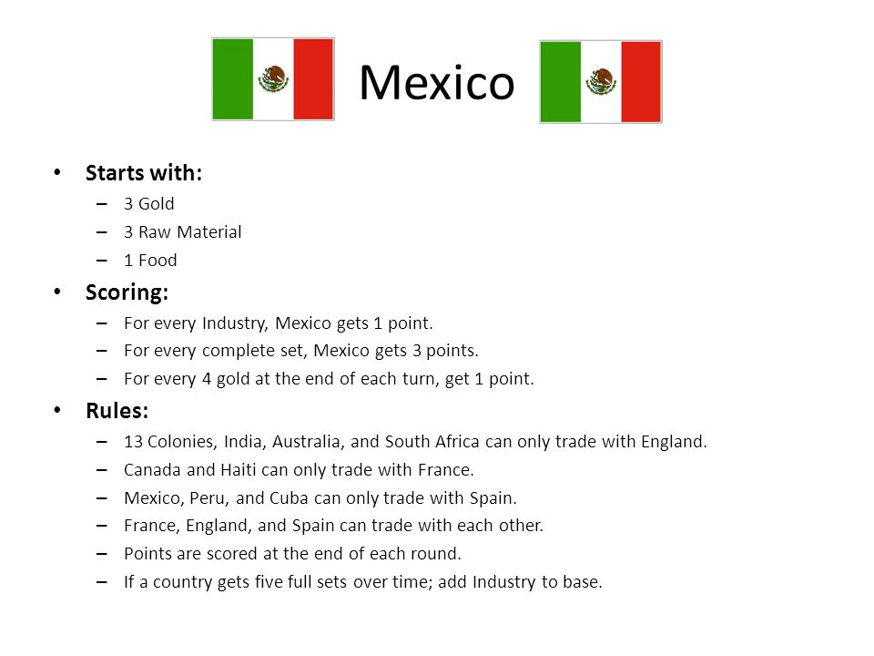 Mexico Starts with: Scoring: Rules: 3 Gold 3 Raw Material 1 Food