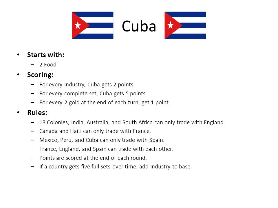 Cuba Starts with: Scoring: Rules: 2 Food