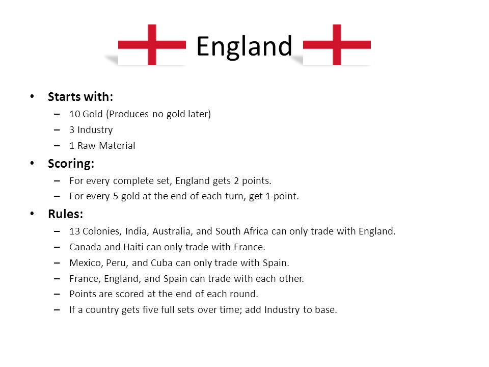 England Starts with: Scoring: Rules: 10 Gold (Produces no gold later)