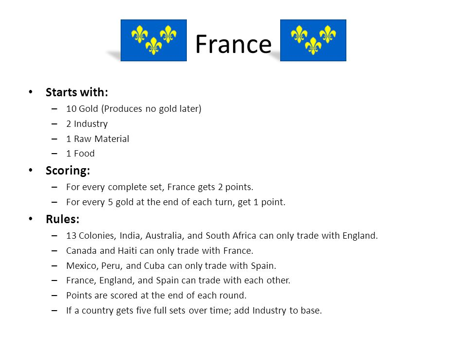 France Starts with: Scoring: Rules: 10 Gold (Produces no gold later)