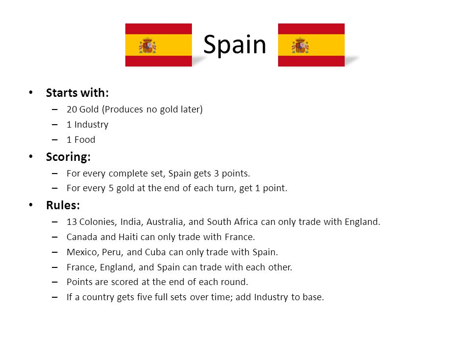 Spain Starts with: Scoring: Rules: 20 Gold (Produces no gold later)