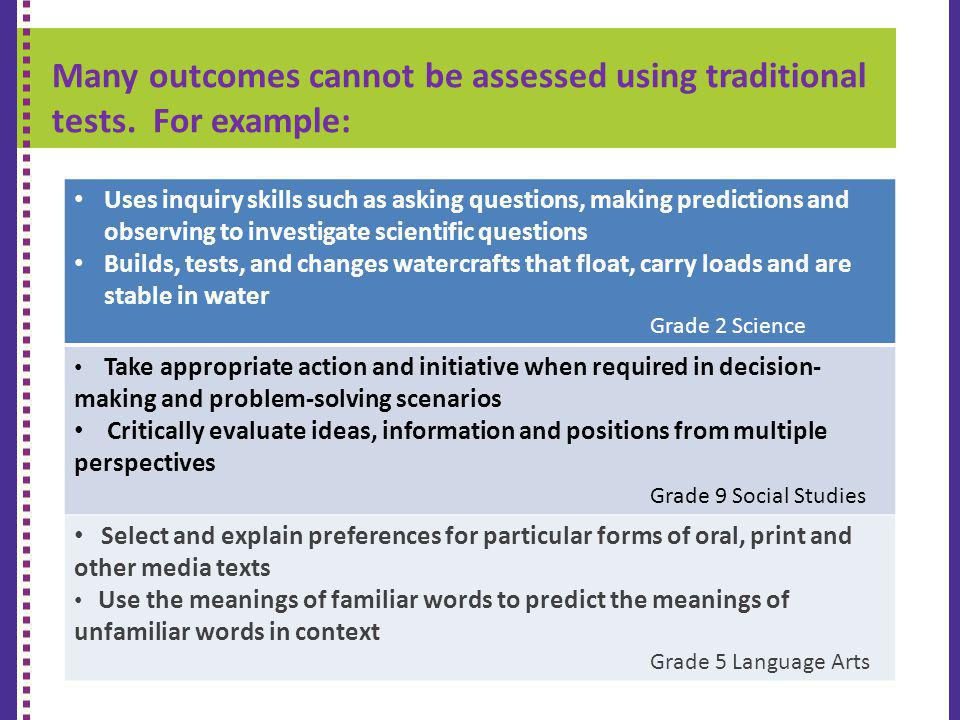 Many outcomes cannot be assessed using traditional tests. For example: