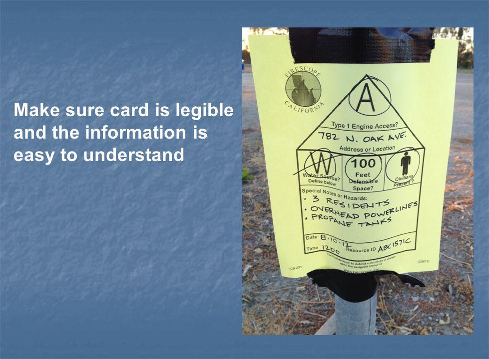 Make sure card is legible